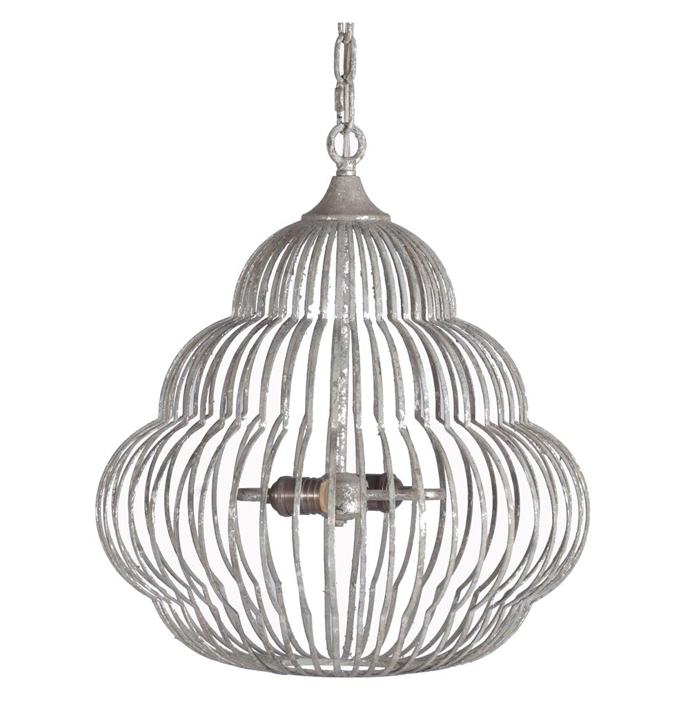 Antique Silver Beehive Iron Frame 2 Light Birdcage Pendant