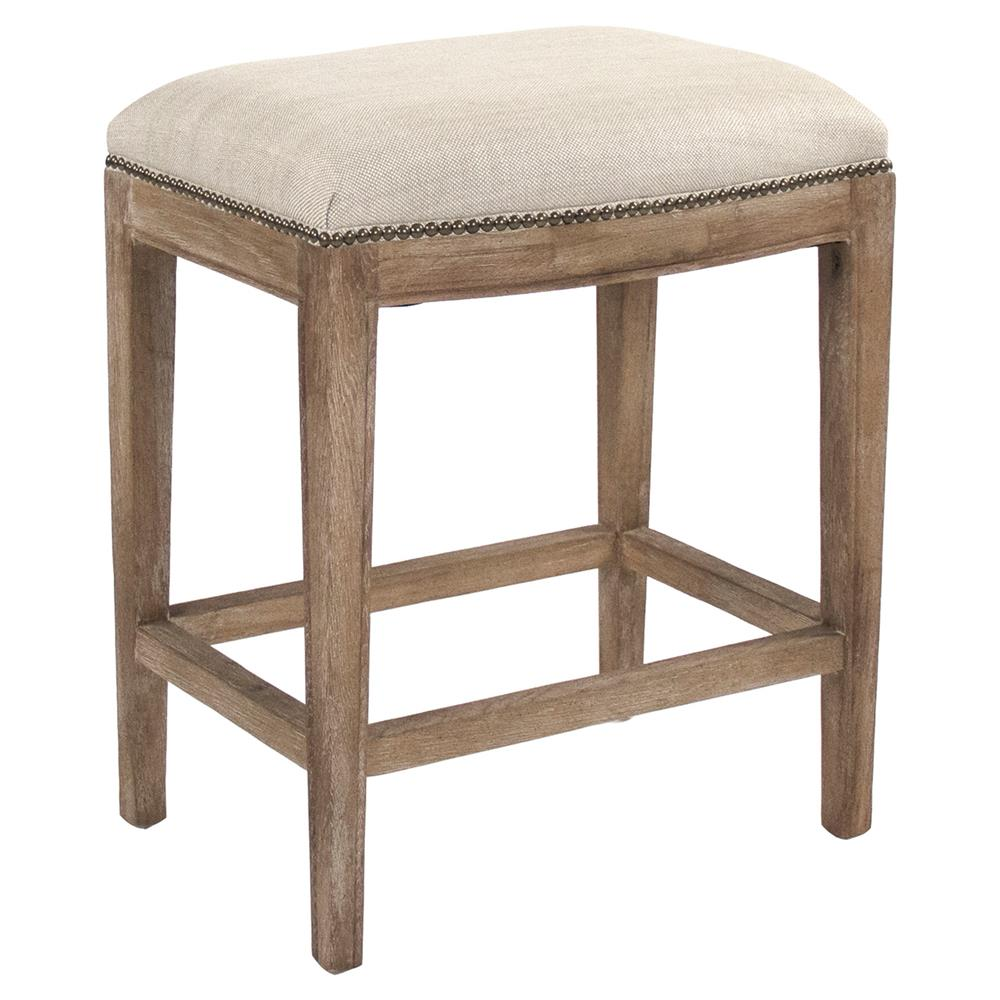Cine French Country Beige Cushion Brown Nailhead Trim Oak Counter Stool Kathy Kuo Home