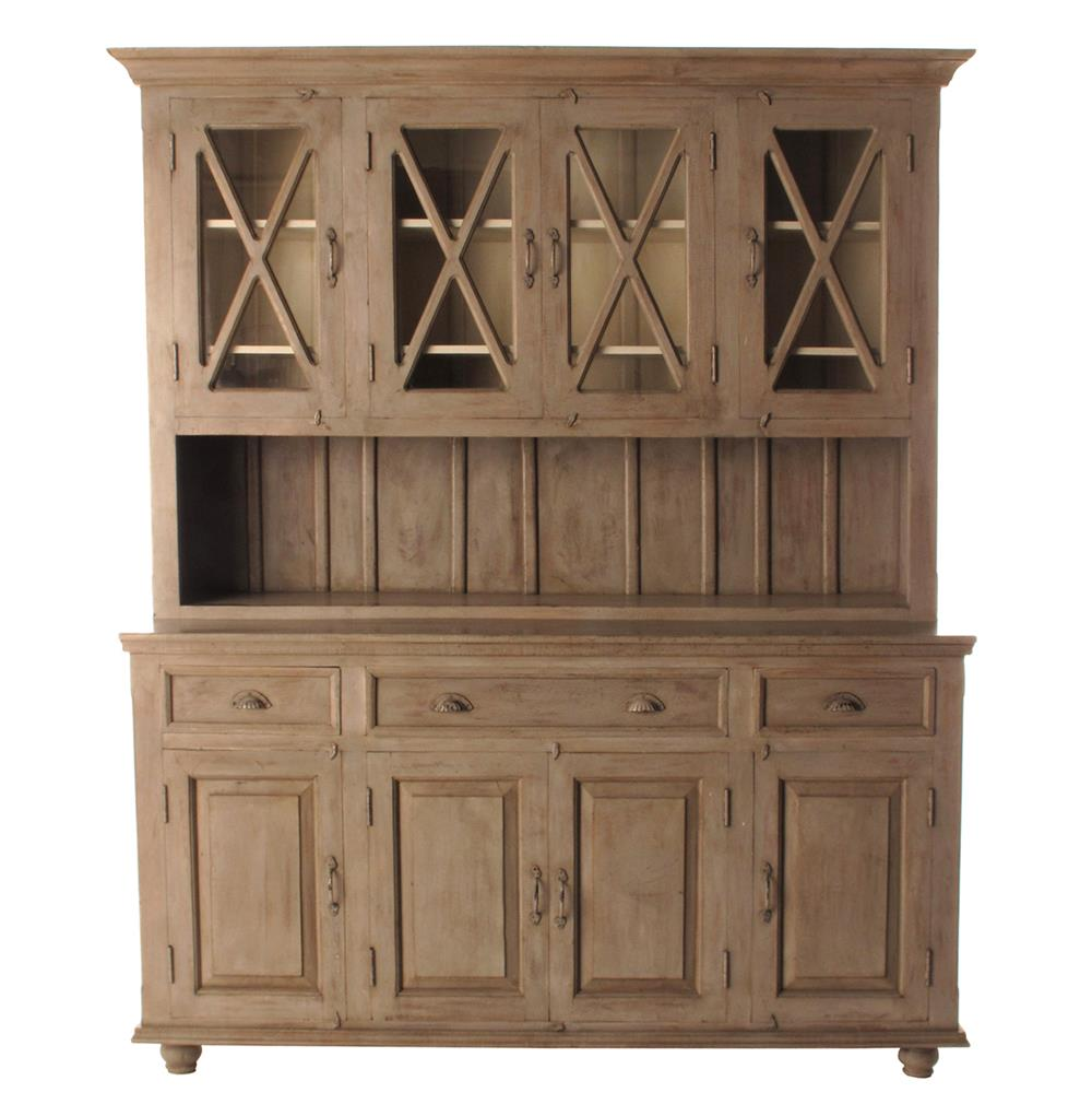 French Country Plantation 4 Door Hutch Cabinet Large Kathy Kuo Home