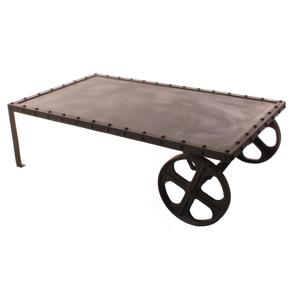Vintage Industrial Iron Transfer Cart Coffee Table Kathy