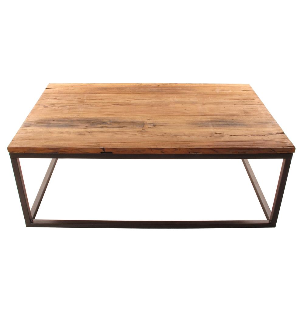 Solid chunky reclaimed elm wood large coffee table kathy for Solid wood coffee table