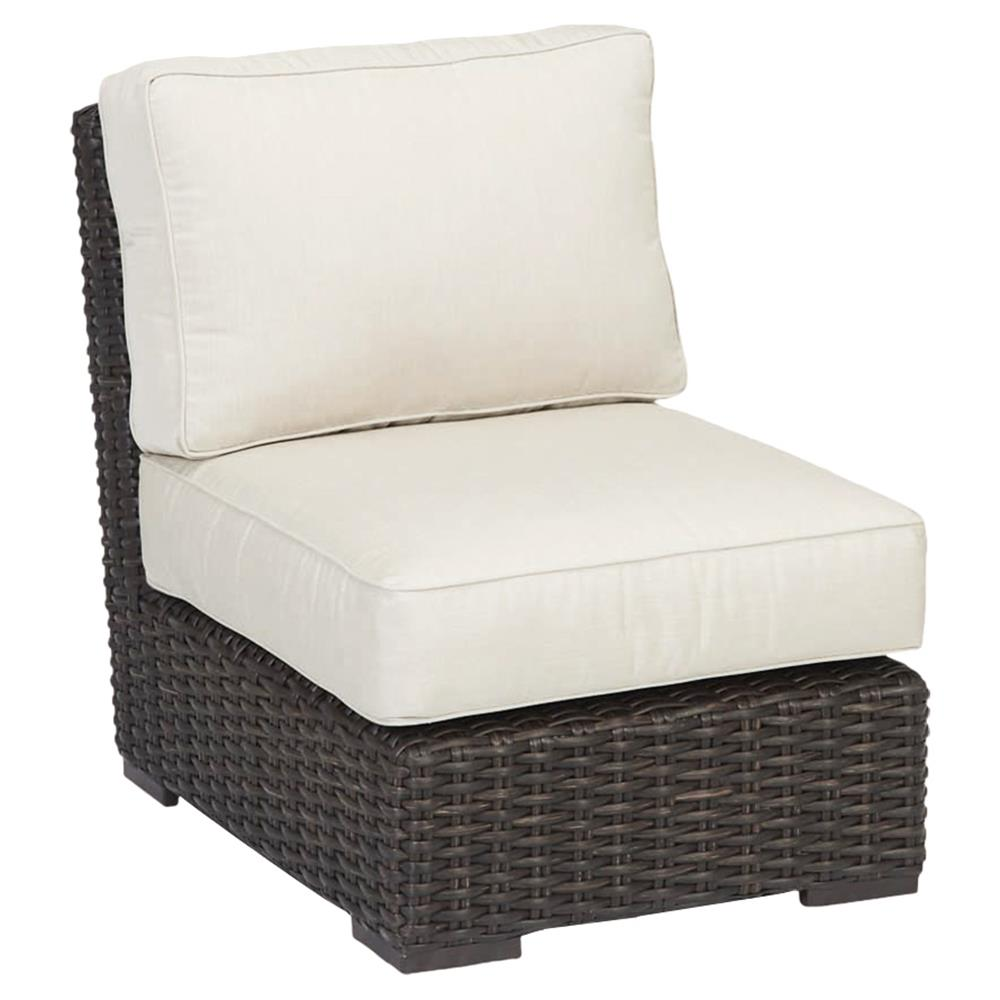 Sunset West Cardiff Modern Beige Cushion Dark Brown Wicker Outdoor Armless  Chair | Kathy Kuo Home ...