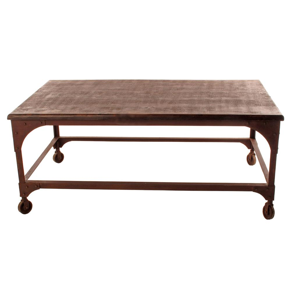 Lyman industrial rustic caster feet coffee table kathy kuo home Coffee tables with casters