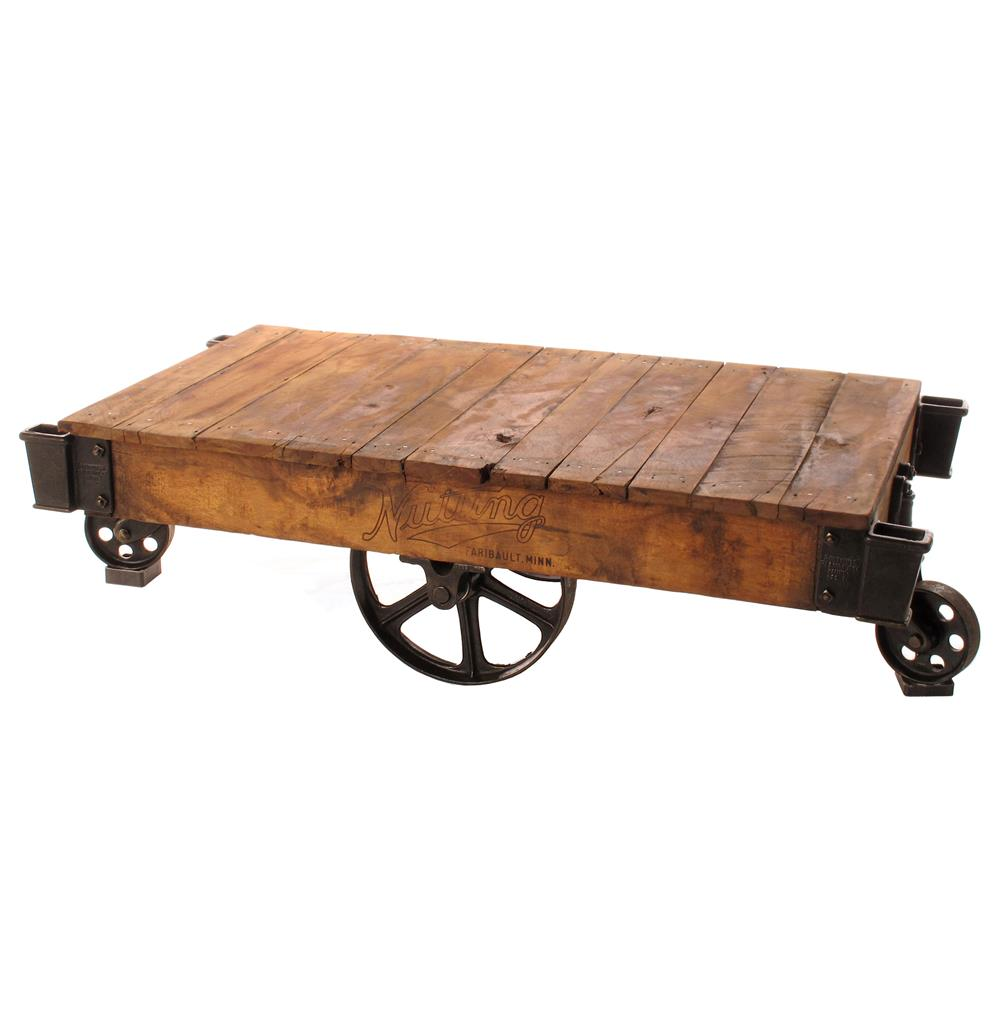 Industrial Loft Reclaimed Railroad Cart Coffee Tables Kathy Kuo Home