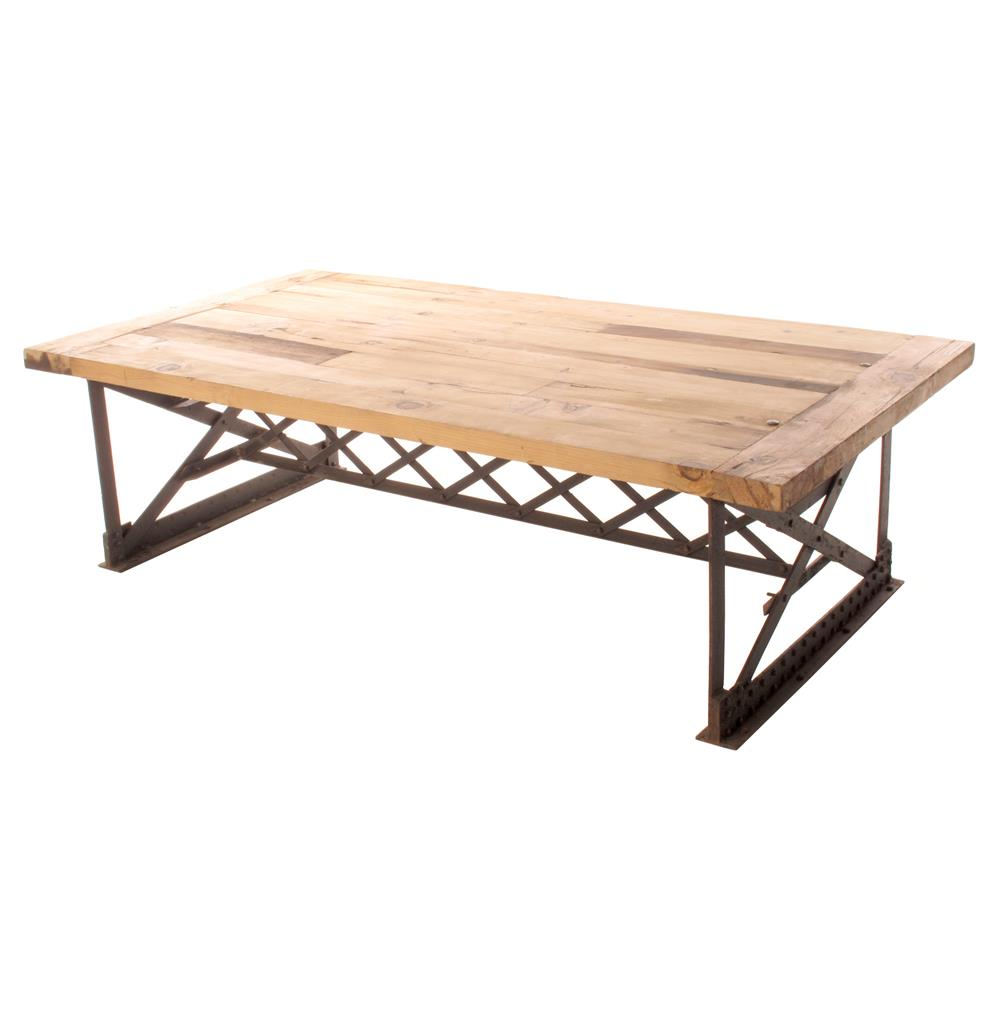 Riveter 39 s industrial modern chunky wood coffee table for Coffee tables industrial