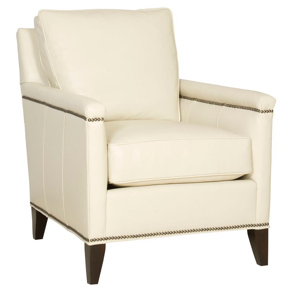 Vanguard Liz White Leather Nailhead Trim Maple Wood Living Room Arm