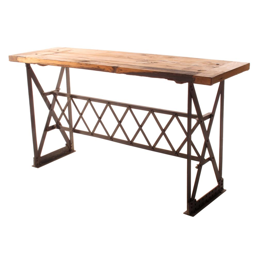 Riveter s industrial modern chunky wood console table