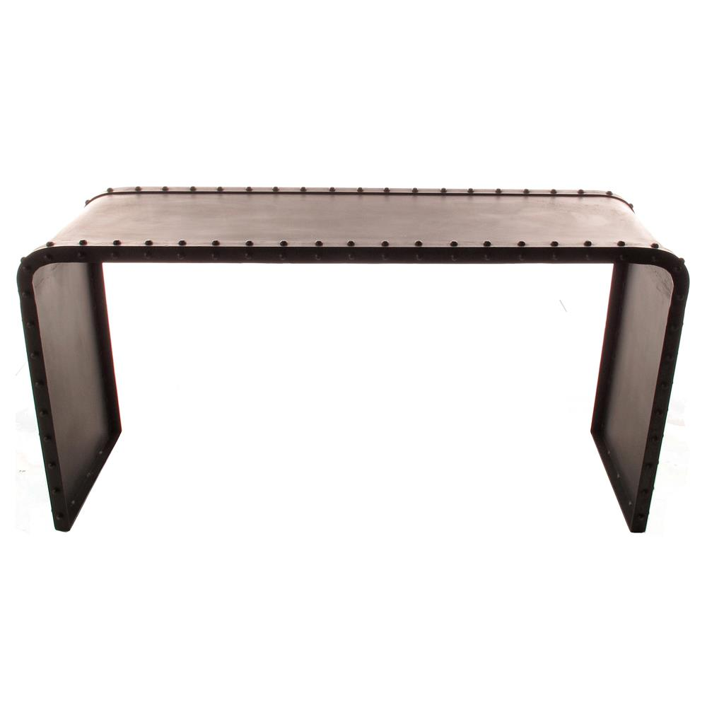 Shipyard Curved Iron Riveted Industrial Modern Console Table