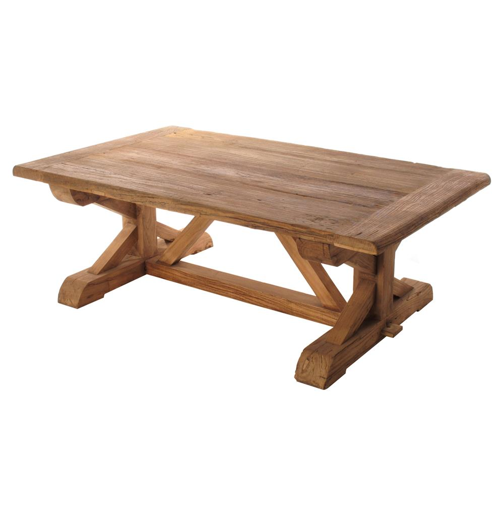Regis solid reclaimed elm wood trestle based coffee table for Reclaimed coffee table