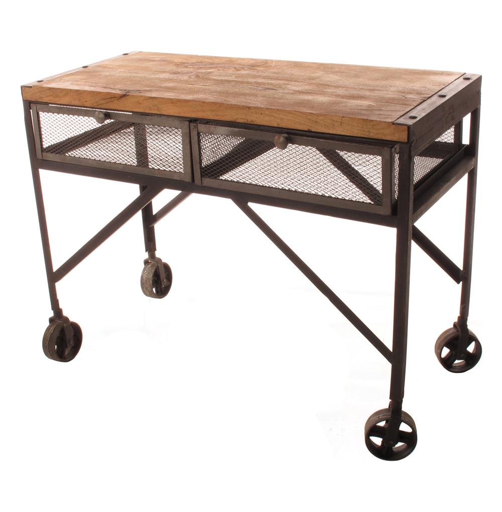 Industrial Mesh Coffee Table: Tribeca Industrial Mesh Drawer Caster Wheel Console Table