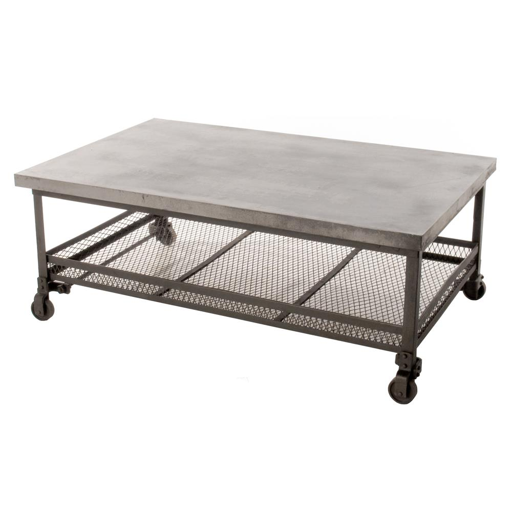 Urban mercantile galvanized steel industrial coffee table for Coffee tables industrial