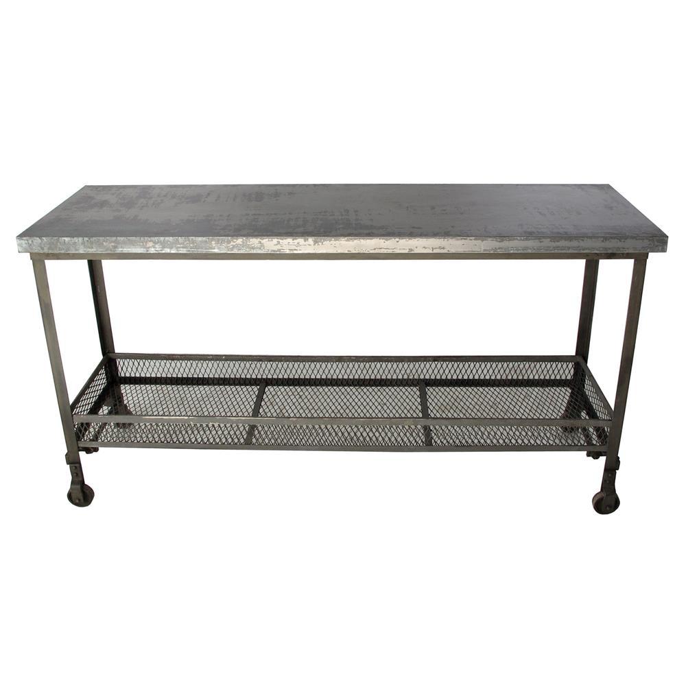 Urban Mercantile Galvanized Steel Industrial Console Table | Kathy Kuo Home