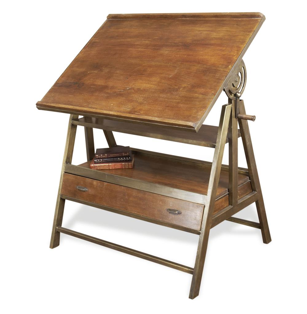 Draftsman s industrial loft wood iron desk table kathy
