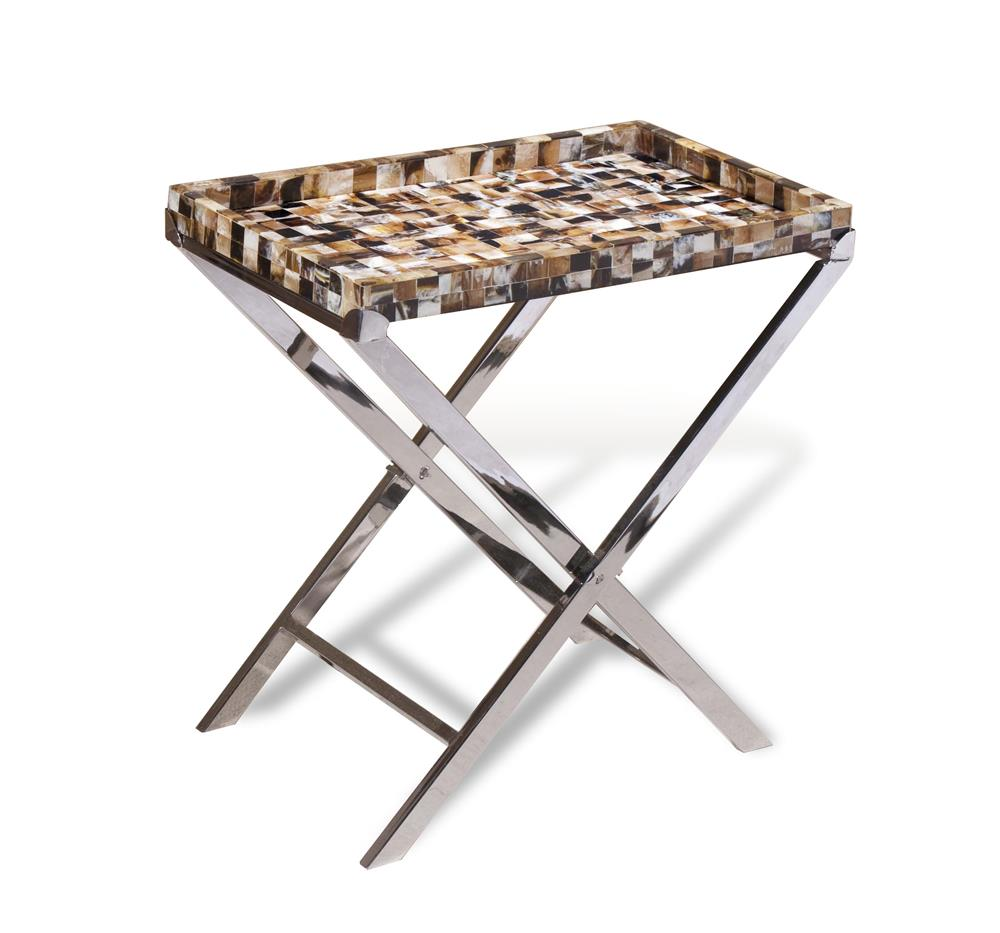 Bomba contemporary metal horn inlay accent tray side table for Tray side table