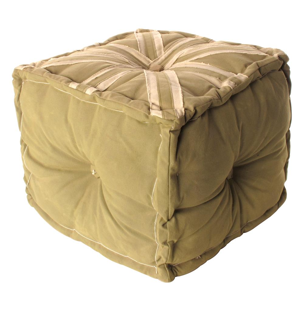 Sage Frost Union Jack Canvas Tarp Cube Ottoman | Kathy Kuo Home