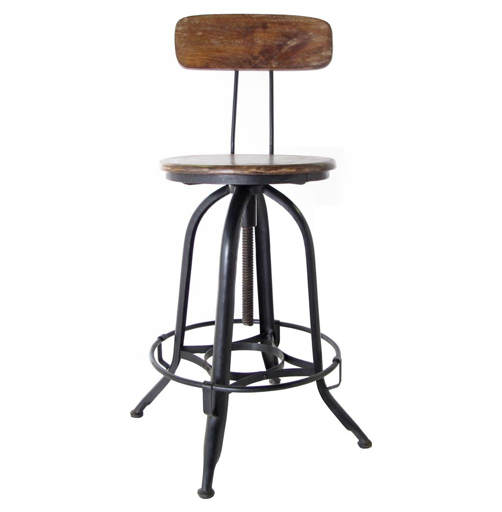 Architects Industrial Wood Iron Counter Bar Swivel Stool with Back