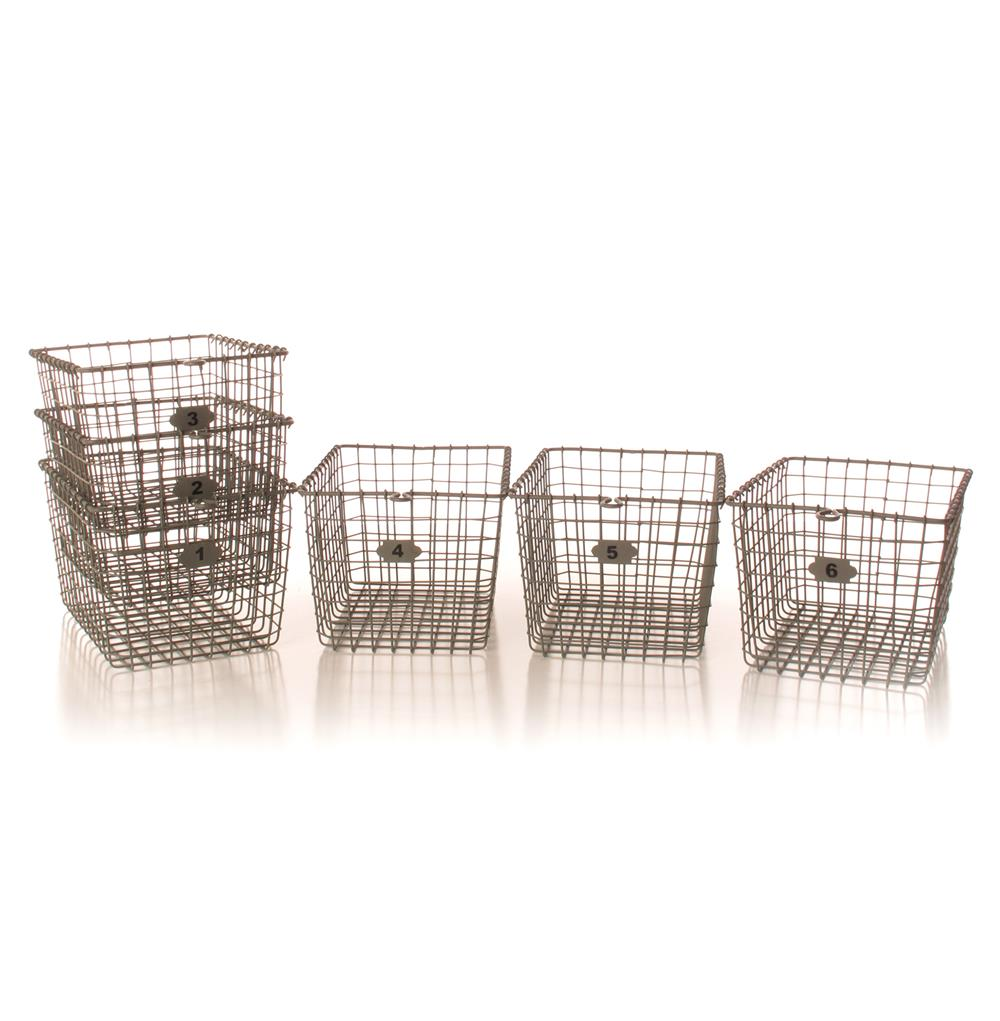 industrial loft locker wire storage baskets set of 6 kathy kuo home. Black Bedroom Furniture Sets. Home Design Ideas