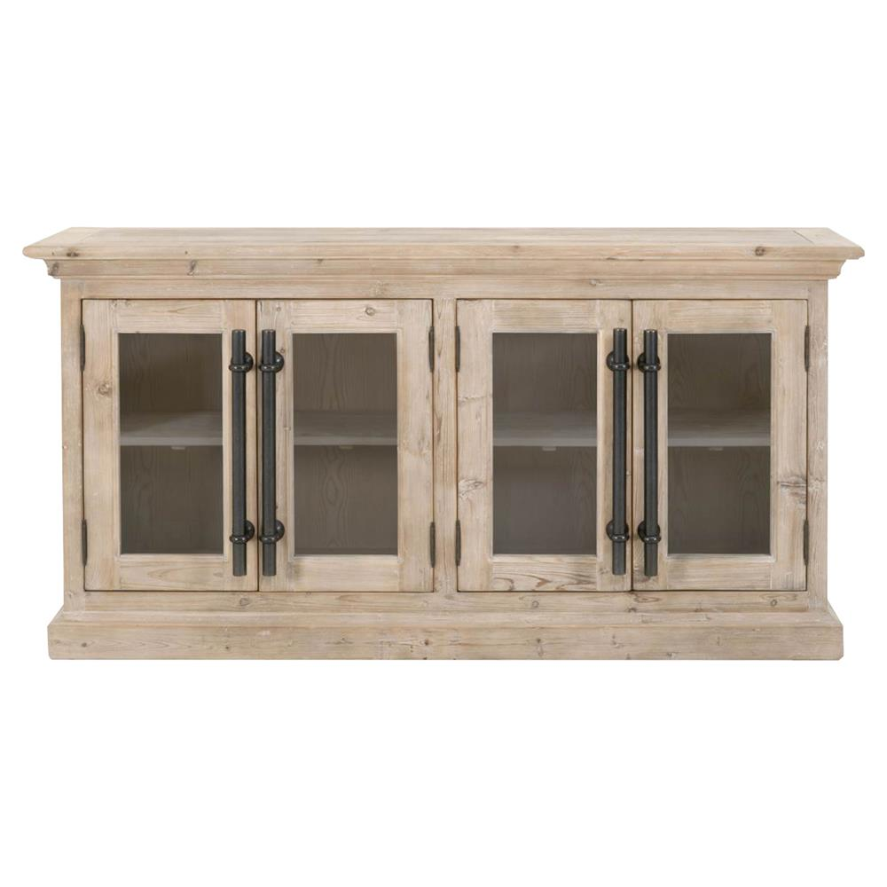 Becca Modern Classic Glass Doors Natural Pine Wood Media Sideboard