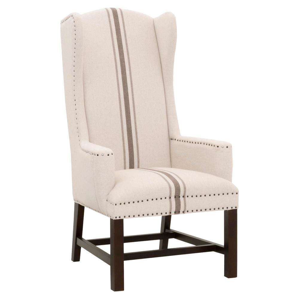 Bonnie Modern Beige Jute Upholstered Birch High Back Nailhead Trim Dining Arm Chair Kathy Kuo