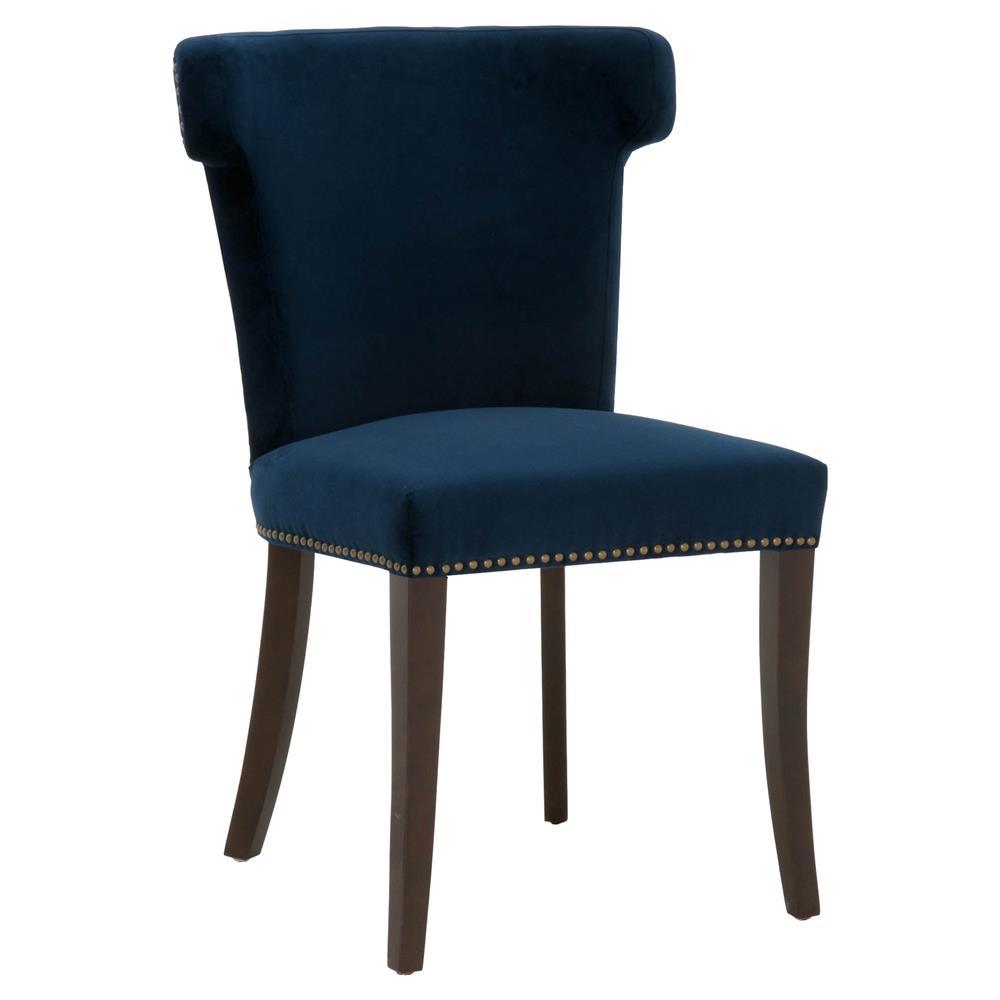 Celine Modern Blue Velvet Upholstered Solid Oak Wing Back ...