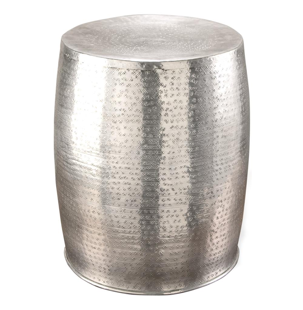 Amazing Karis Antique Silver Hammered Metal Garden Stool Side Table | Kathy Kuo Home