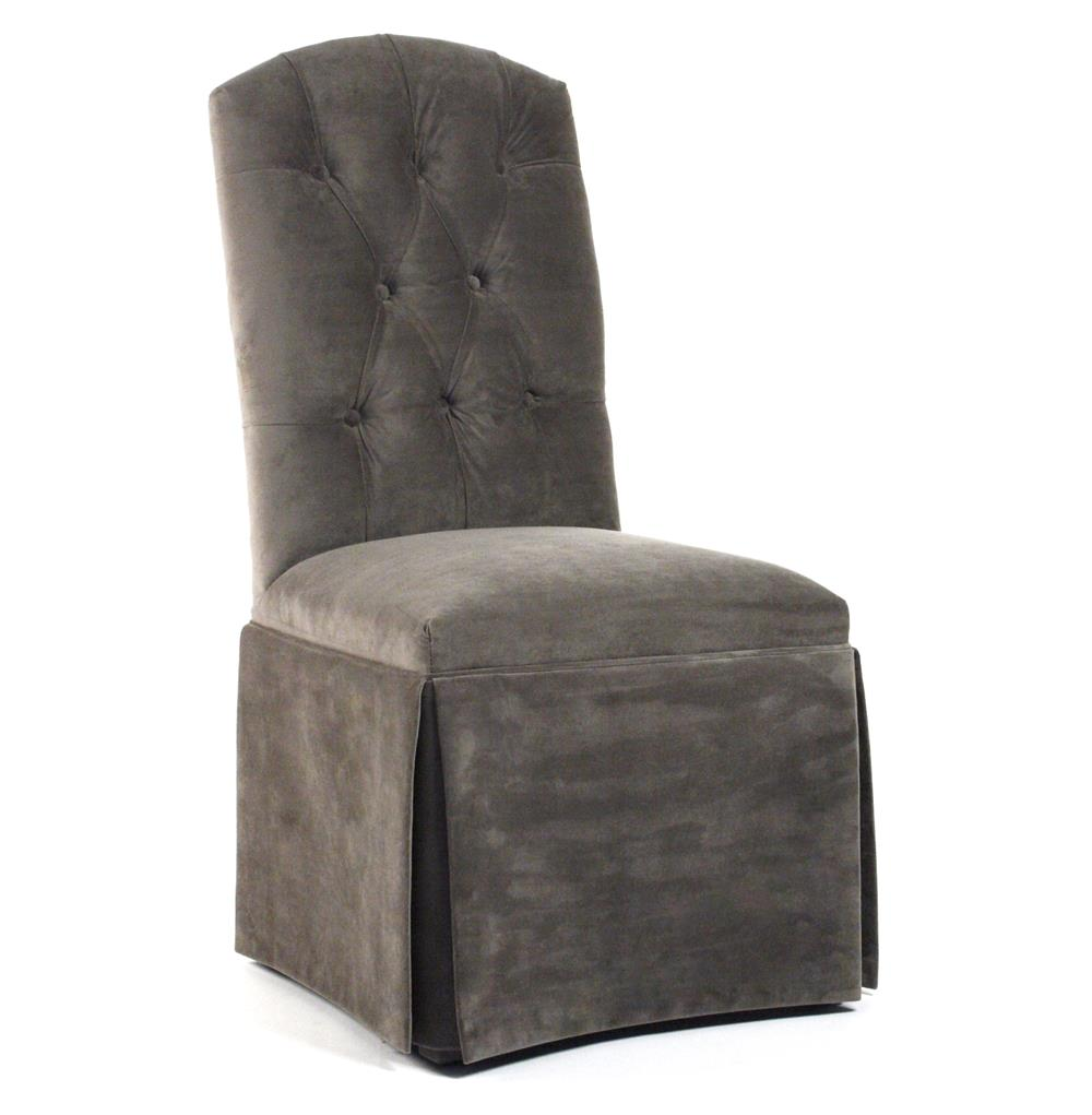 Raquel Regency Skirted Pewter Cotton Velvet Dining Chair  : product4655 from www.kathykuohome.com size 1000 x 1021 jpeg 59kB
