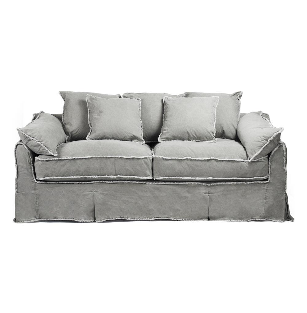 Kelvin Stonewash Canvas Fog Cottage Style 3 Seat Sofa Kathy Kuo Home