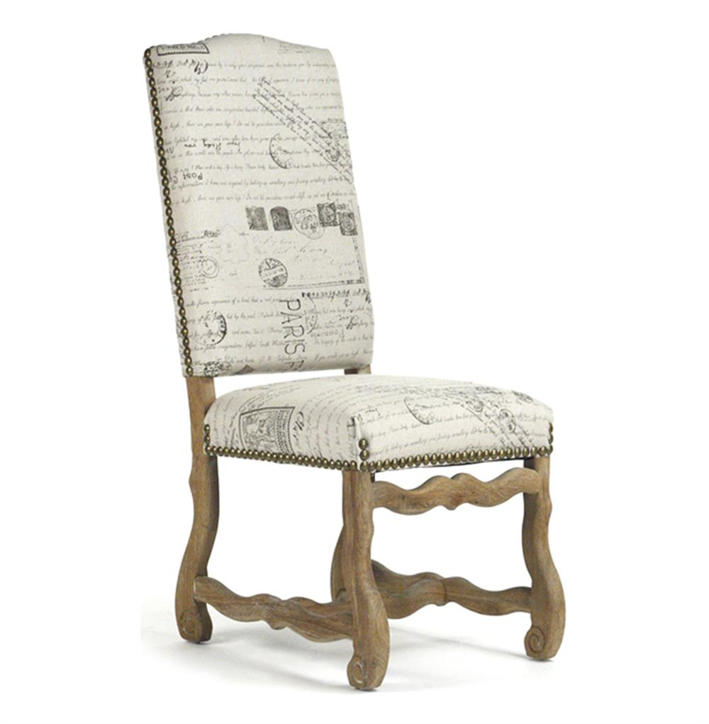 Marcelle french country linen script camel back dining chair kathy kuo home