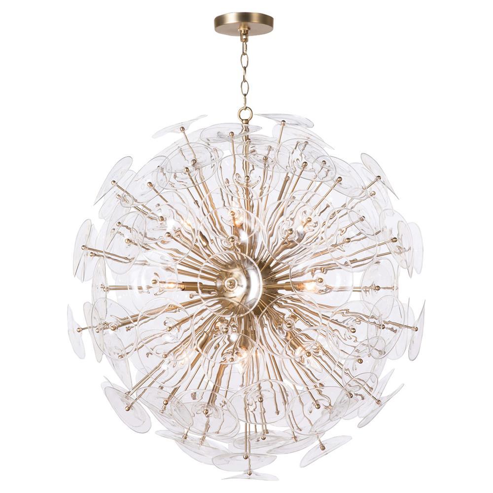 Ara mid century modern glass disc orb chandelier