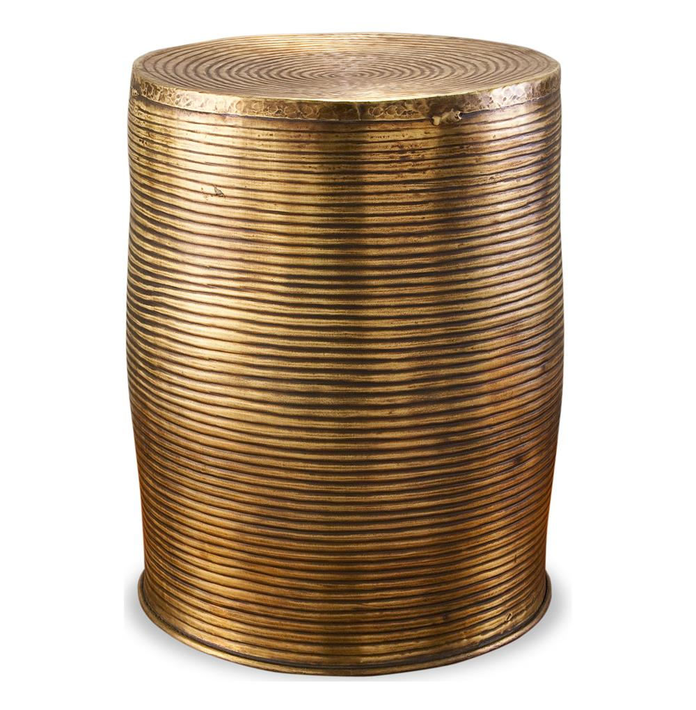 Unni Antique Brass Round Garden Stool Accent Side Table | Kathy Kuo Home