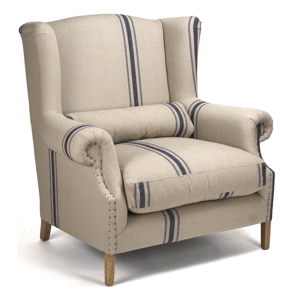 Elegant Abraham English Blue Stripe Fog Linen Oversized Arm Chair | Kathy Kuo Home