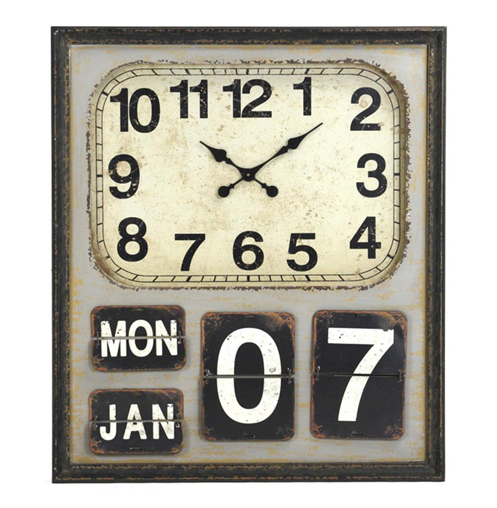 Rustic industrial loft wooden wall clock kathy kuo home amipublicfo Choice Image