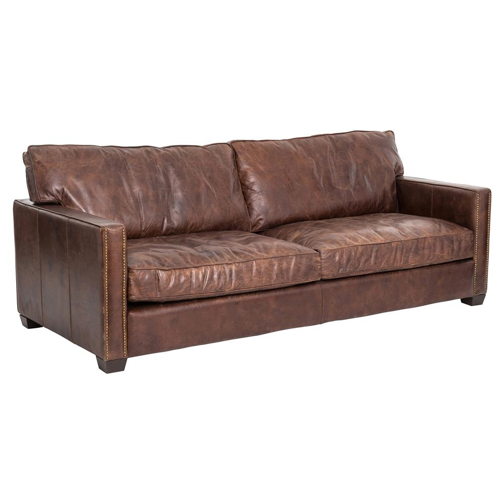 Darla Modern Classic Brown Leather Upholstered Ash Wood Brass ...