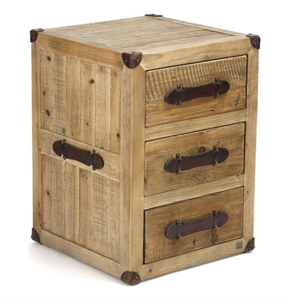 Hudson rustic lodge solid chunky wood 3 drawer nightstand for Rustic wood nightstand