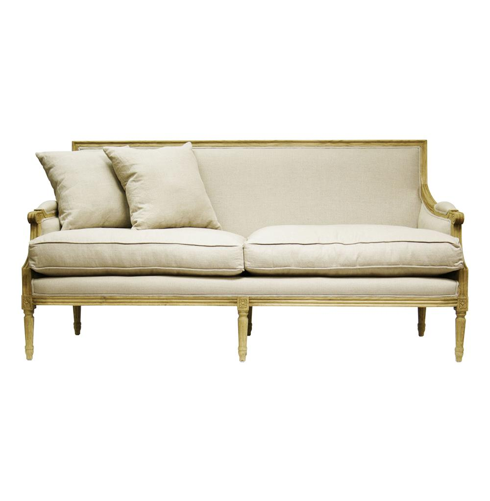 St. Germain French Country Natural Oak Louis XVI Natural Linen Sofa | Kathy  Kuo Home