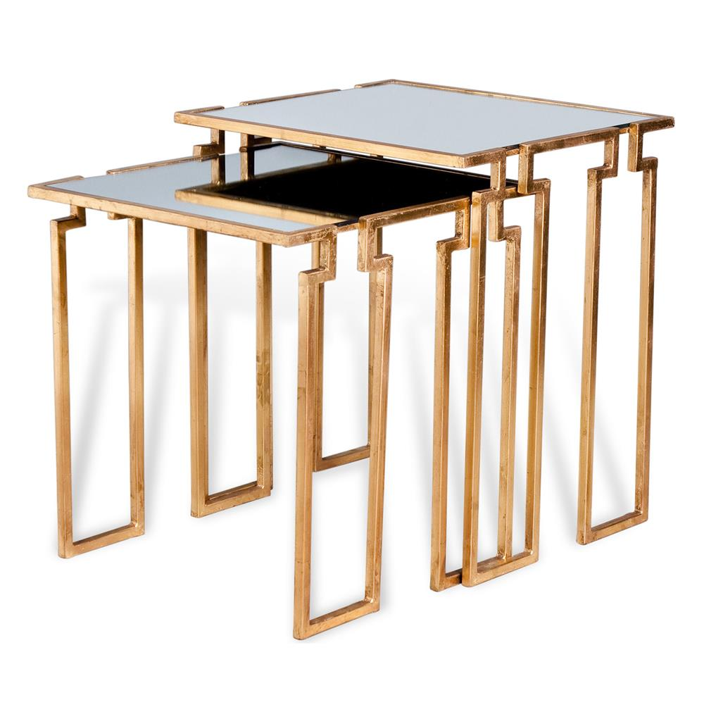 Hollywood regency antique gold leaf mirror nesting side tables