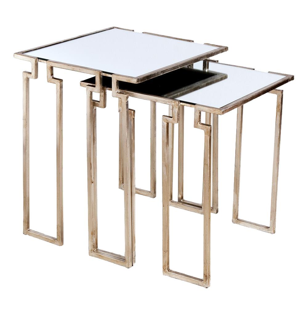 ... Antique Silver Leaf Mirror Nesting Side Tables  Kathy Kuo Home