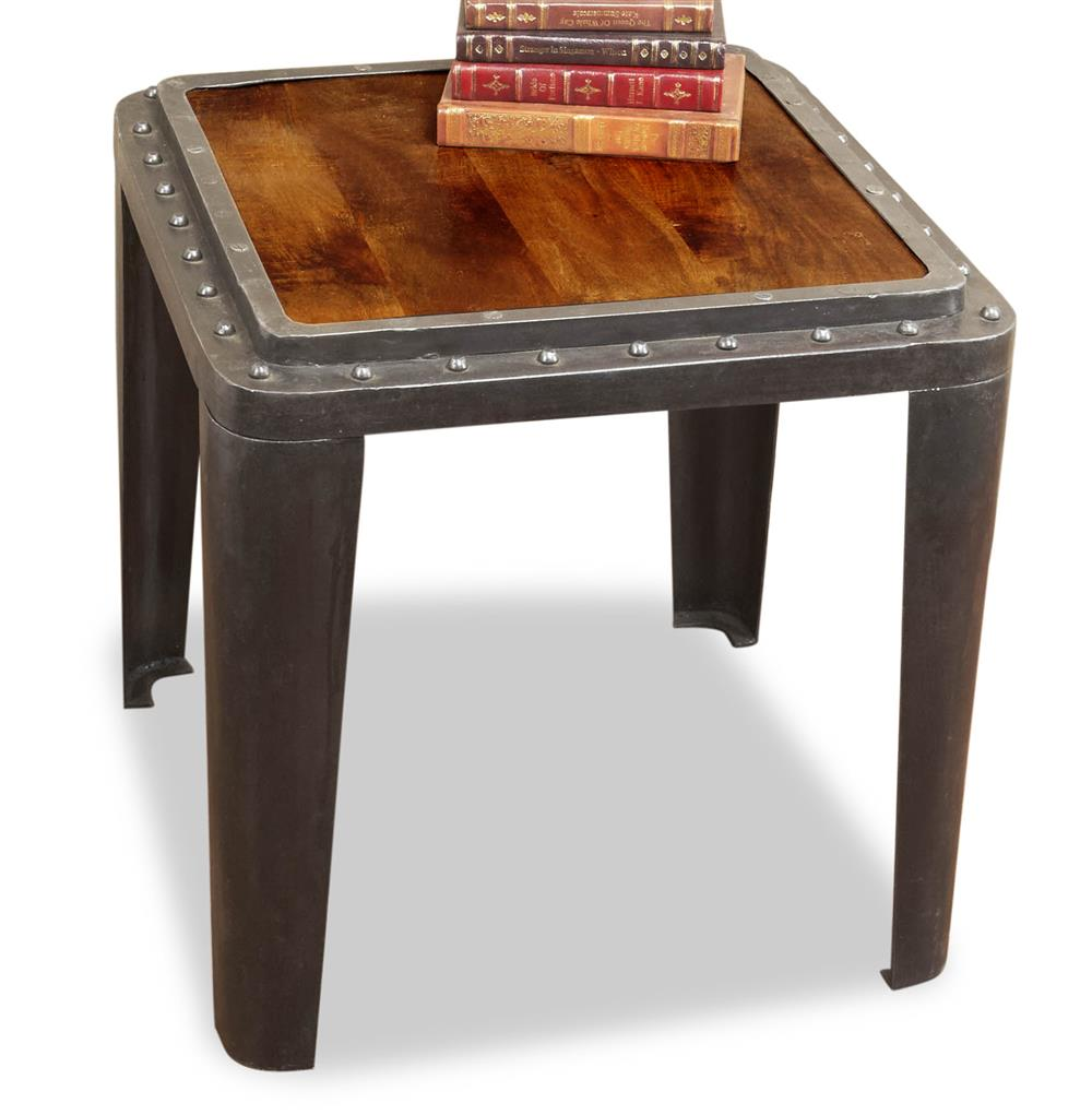 Taloro Industrial Antique Side End Table Kathy Kuo Home