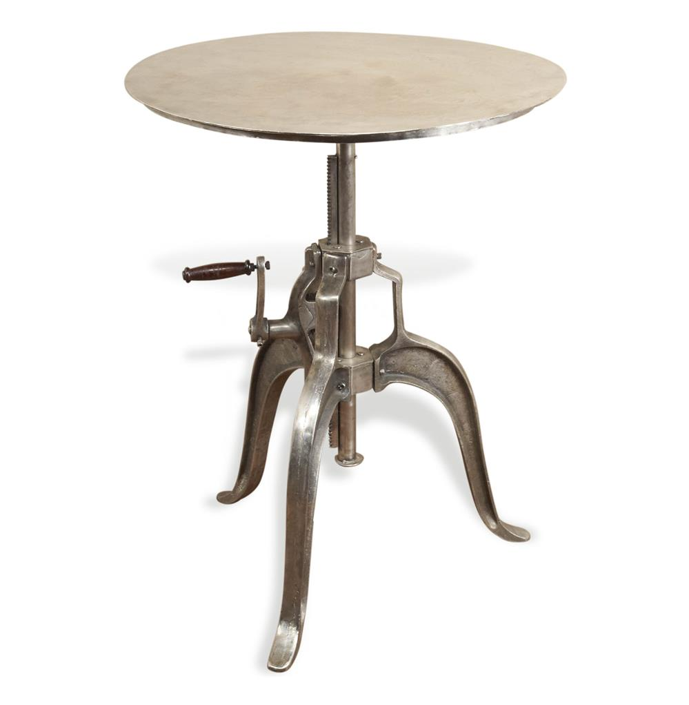 savio round metal industrial crank small dining center