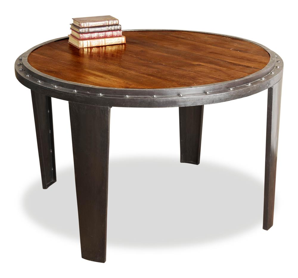 Industrial Round Dining Table: Taloro Rustic Industrial Round Dining Table