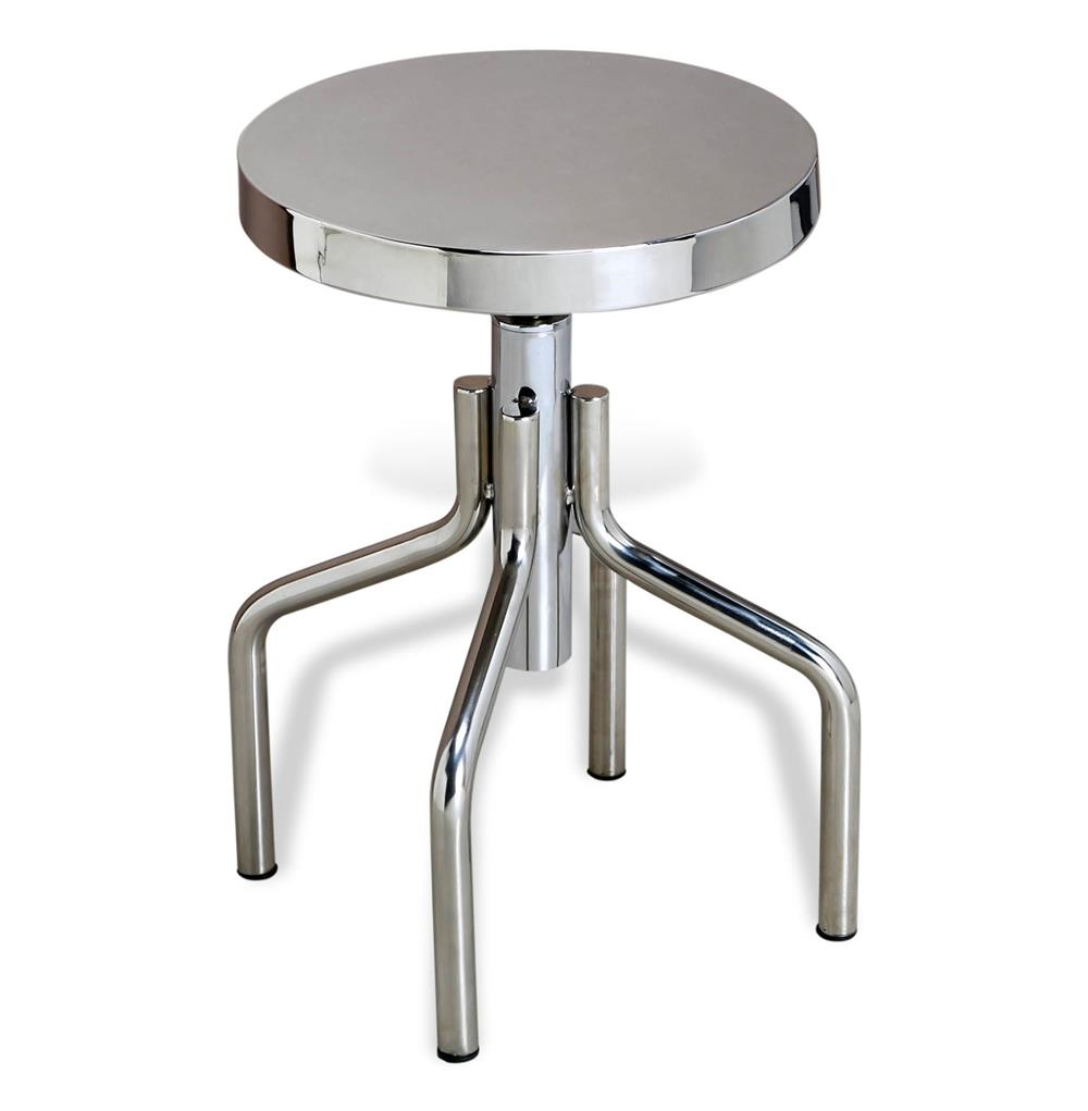 Rocky Industrial Polished Stainless Steel Stool Accent