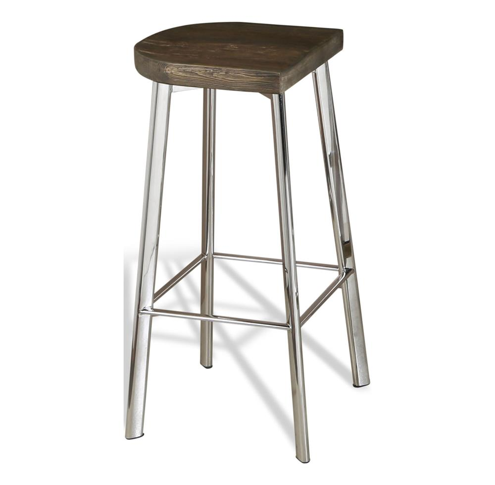 Xenia rustic wood and stainless steel counter stool for Counter bar stools