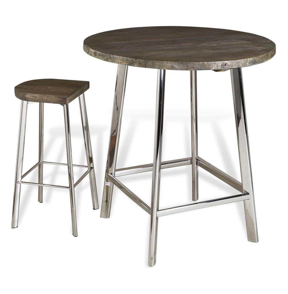 Xenia rustic wood and stainless steel bar table kathy for 12 bar blues table