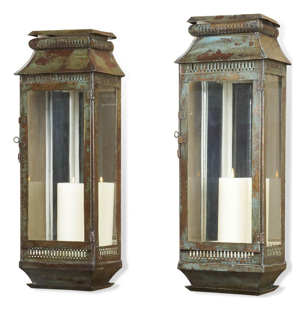 Modena Tall Moroccan Rustic Pair Wall Sconce Lanterns