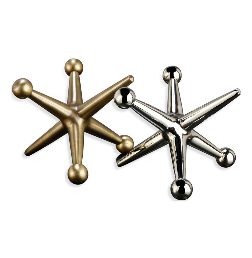 jayden giant jacks brass silver sculptures- set of 2 | kathy kuo home