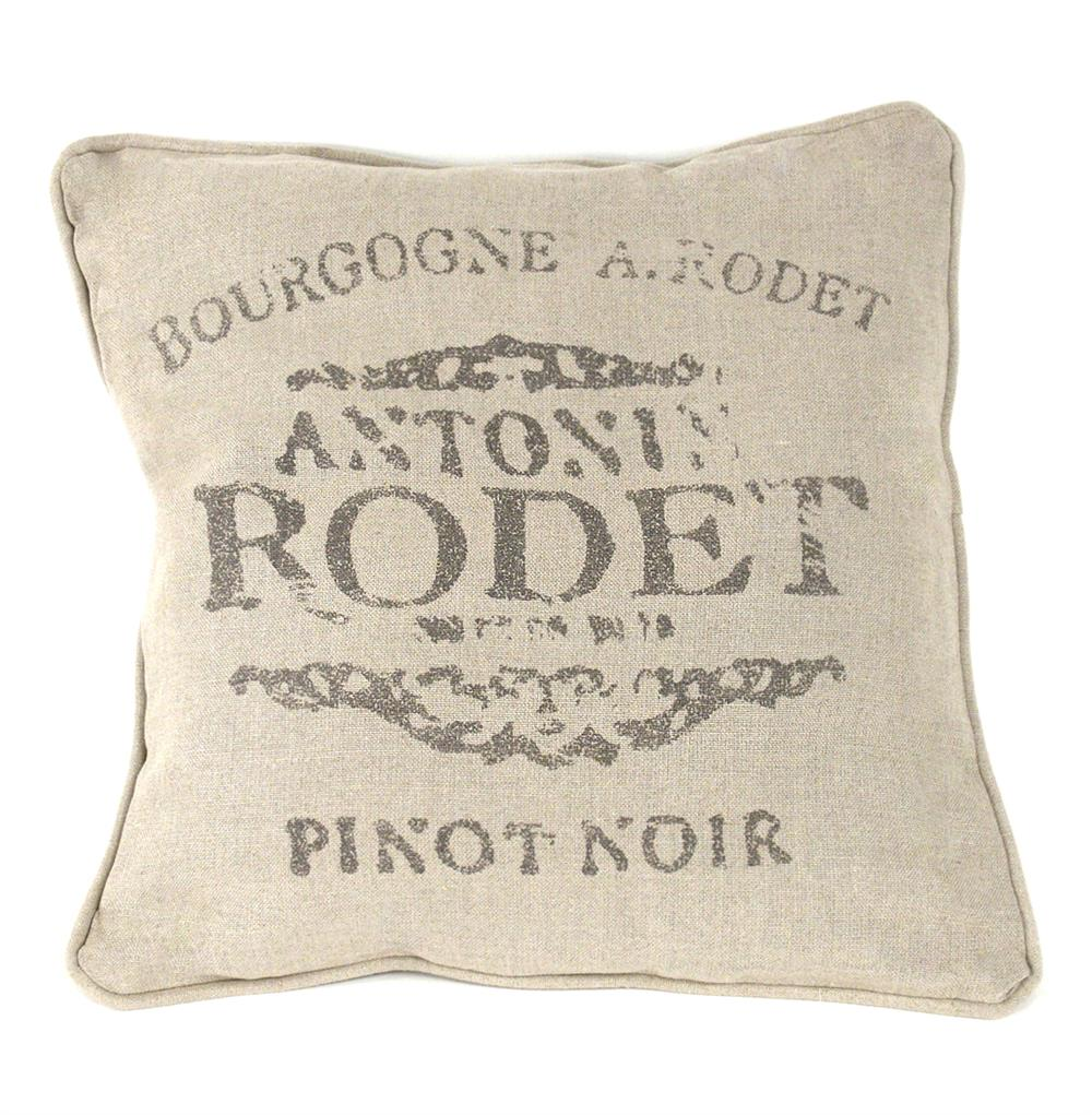 French Country Farm Stand Pinot Noir Throw Pillow - 18x18 Kathy Kuo Home