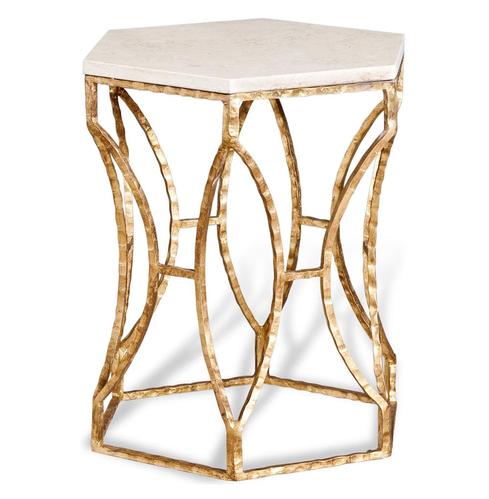 Roja Antique Gold Leaf Cream Marble Hexagonal Side Table | Kathy Kuo Home