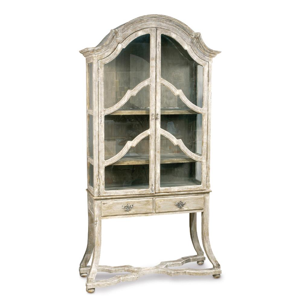 Dauphine French Country Antique Beige Display Case Cabinet