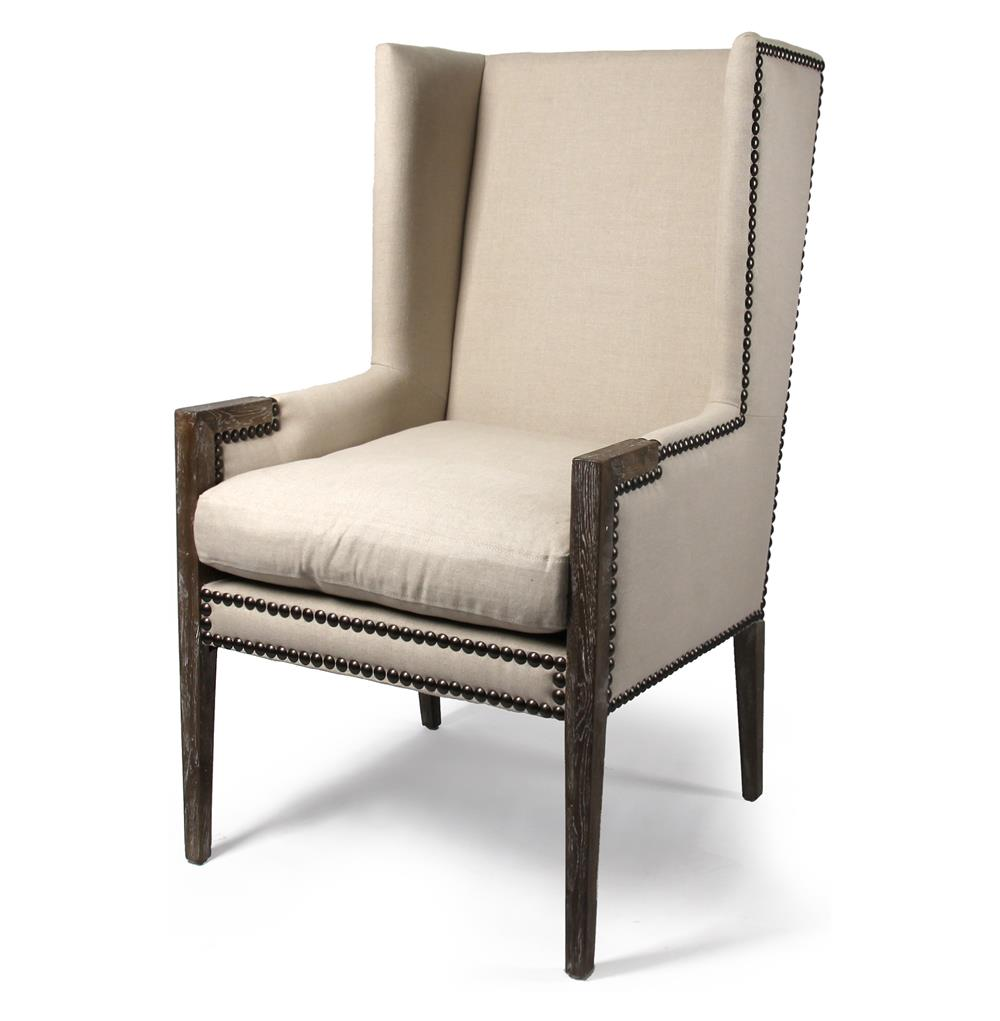 French Modern Angled Linen Nailhead Wing Chair