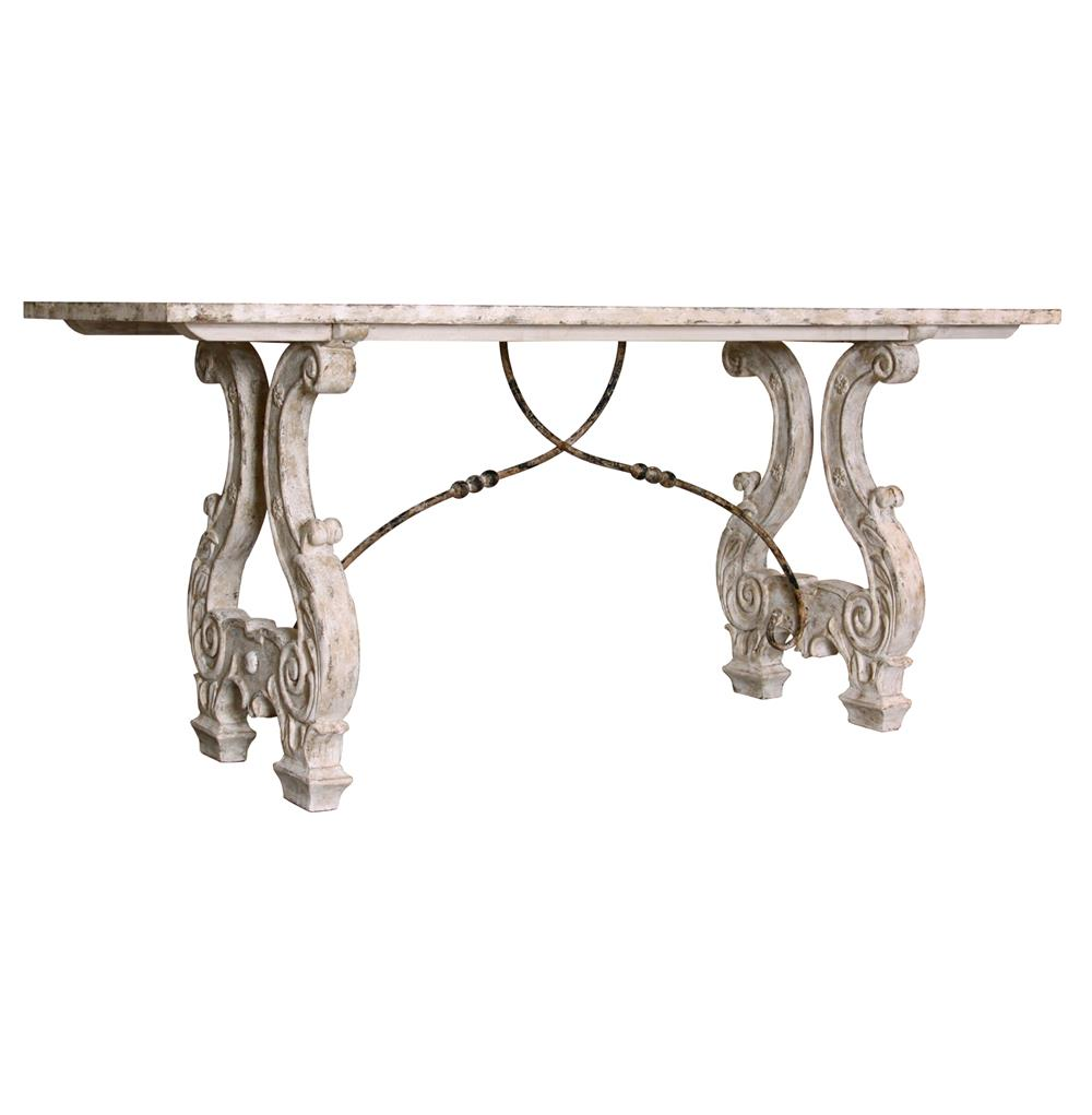 Italian lyre base rustic country antique dining table for Italian dining table